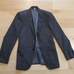 BURBERRY tailored gray tweed check blazer